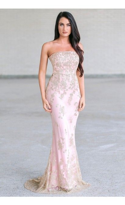 Rose pink and gold maxi prom dress, Formal pink gown | New ...