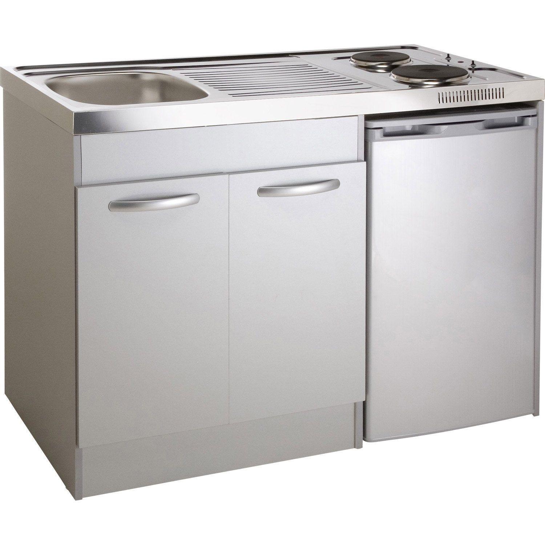 Kitchenette Electrique Gris Aluminium Spring H 92 5 X L 120 X P 60 Cm Kitchenette Cuisine Complete Meuble Sous Evier