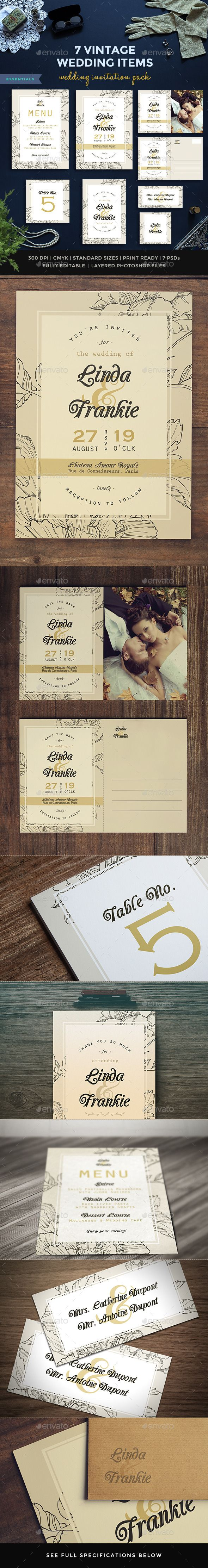 free wedding invitation psd%0A   Vintage Items  Wedding Pack II