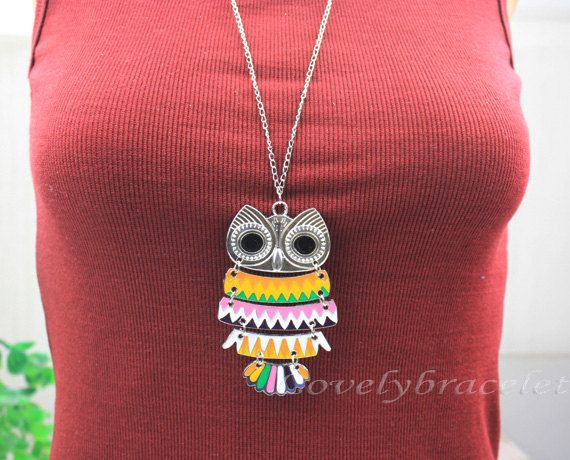 Silver owl necklace daily leisure fashion by lovelybracelet, $3.99