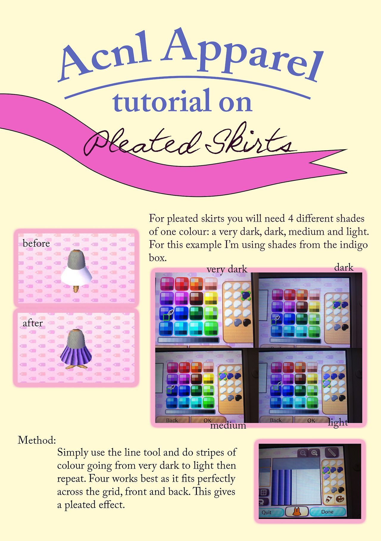 Acnl Pleated Skirts Tutorial Animal Crossing Animal Crossing