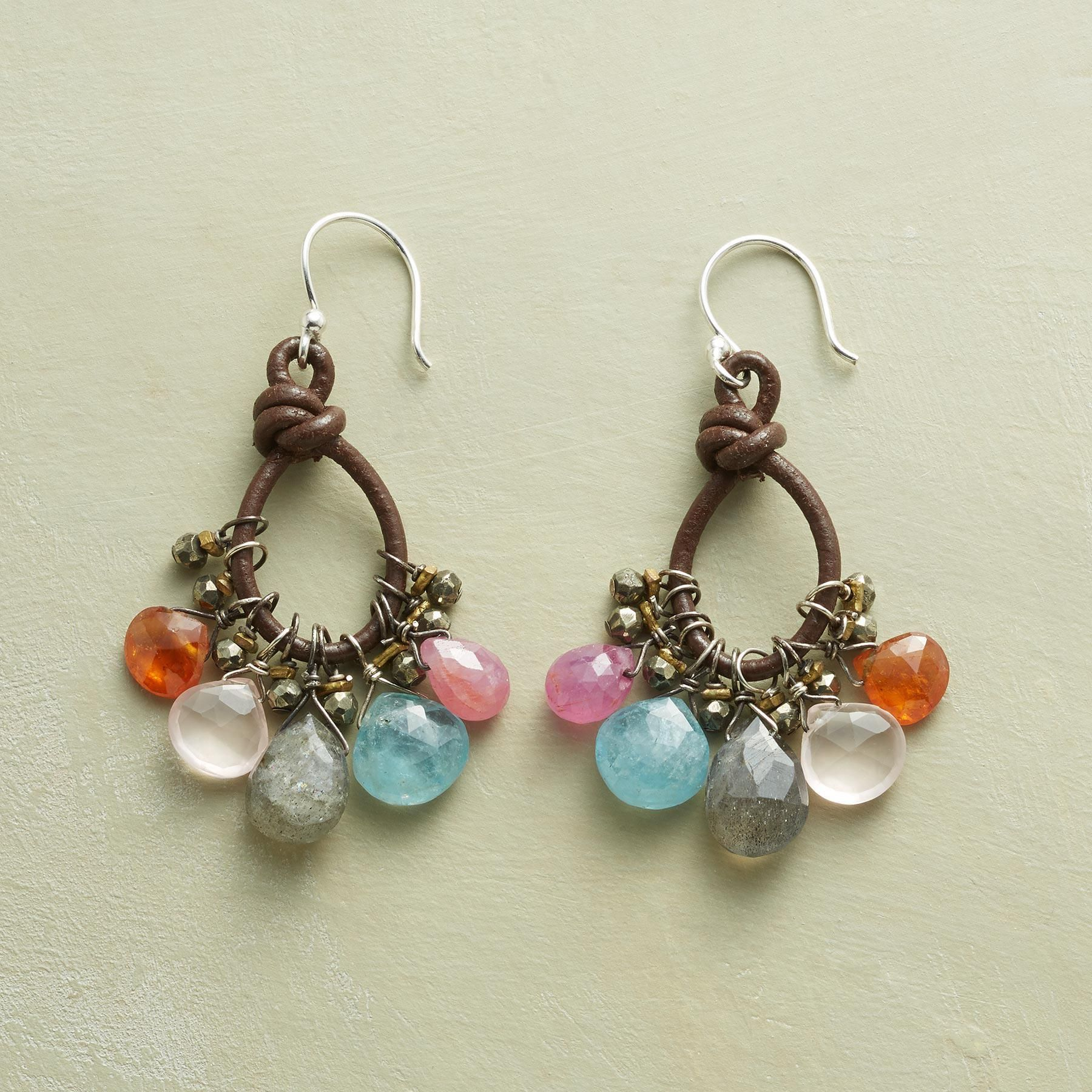 "PAINTBOX EARRINGS -- So many sweet, sparkling stones—aquamarine, rose quartz, pink sapphire—made all the more lovely contrasted with looped leather in chocolate brown. Exclusive. 1-5/8""L."