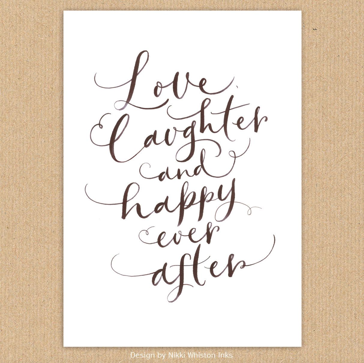 "Quotes About Happiness And Laughter Download Hand Lettered Quote Print A4 ""love Laughter & Happy Ever"