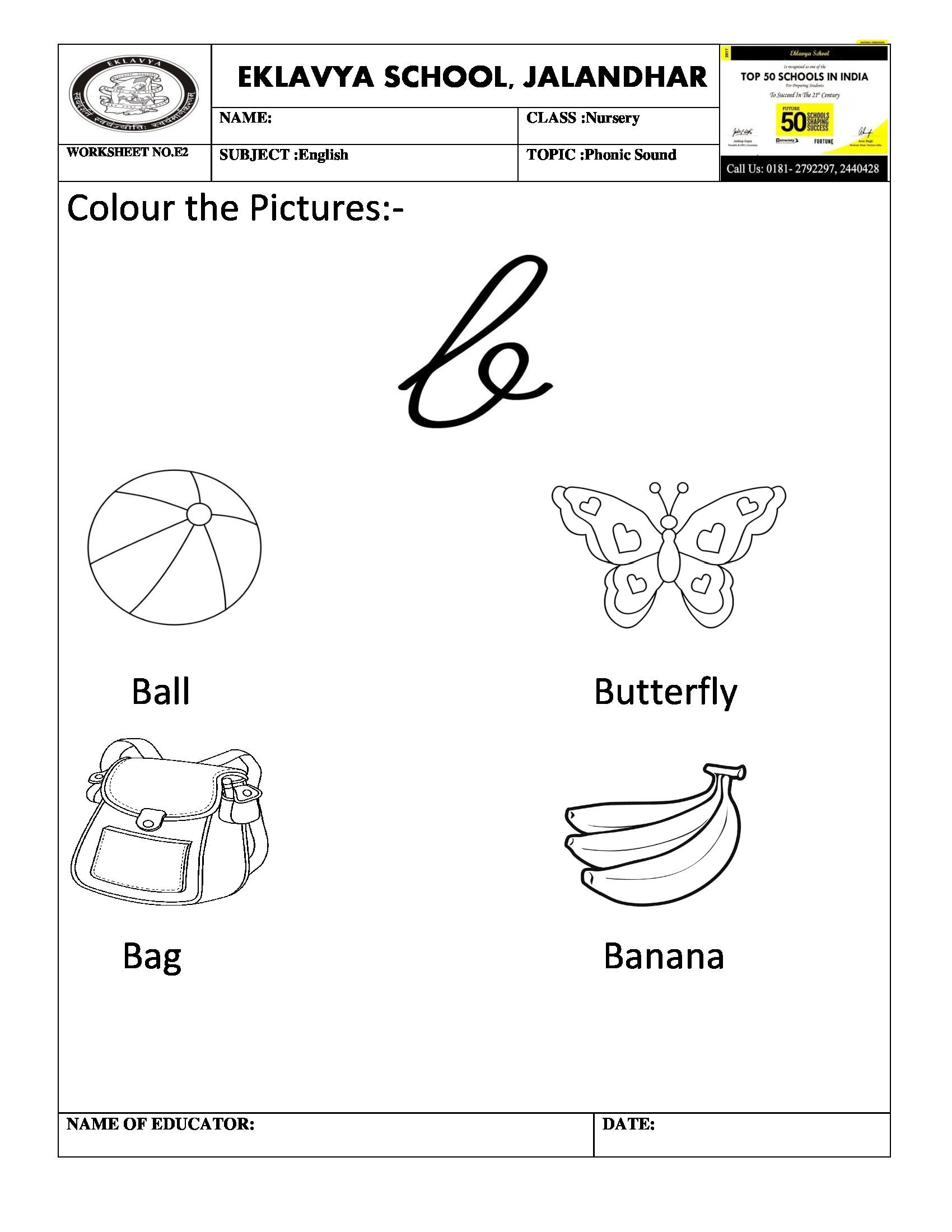 Phonic Sound B Worksheet