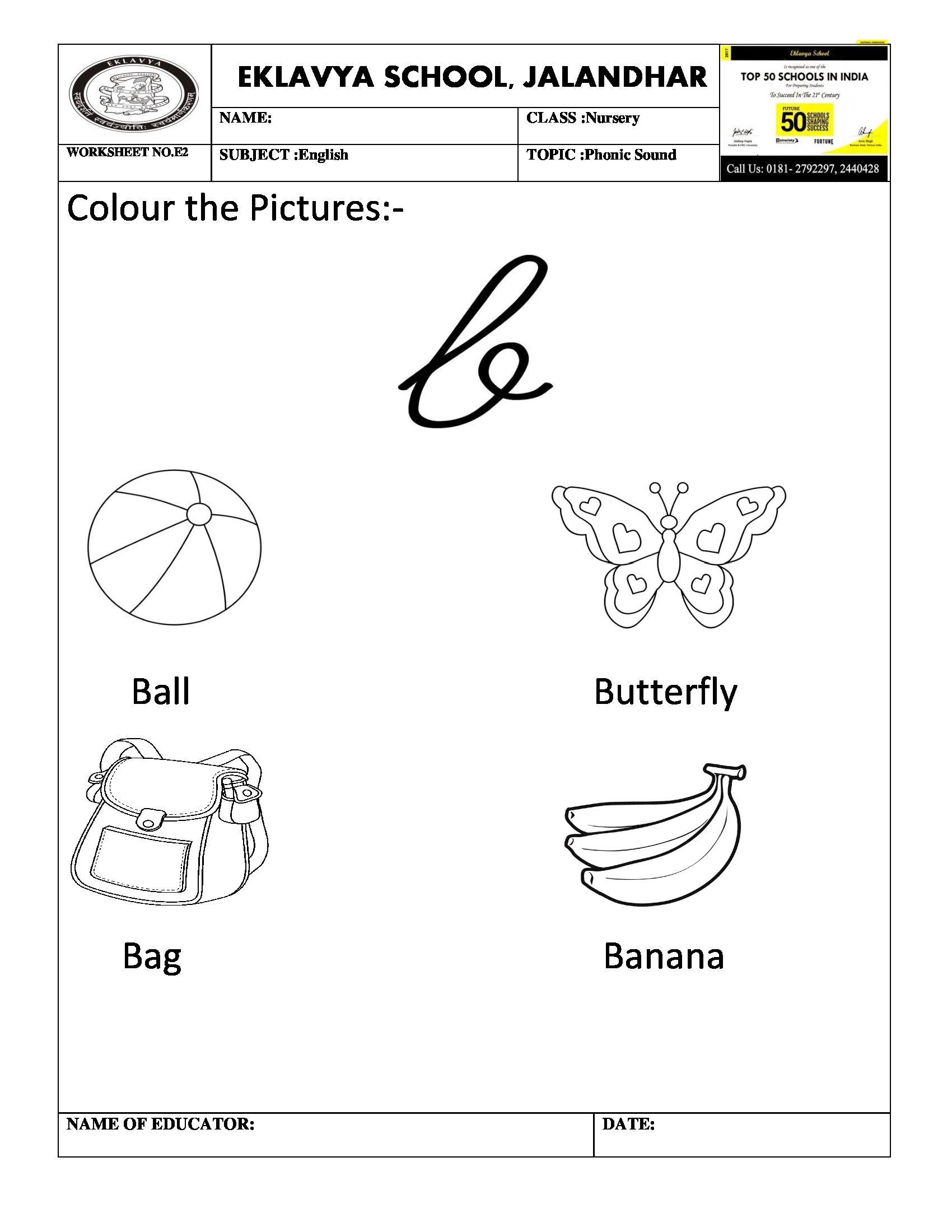 Phonic Sound \'b\' Worksheet | Pre- Primary Worksheets | Pinterest ...