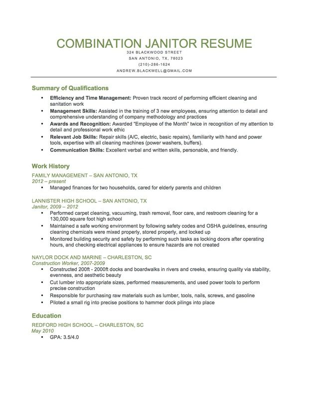 Combination Janitor Resume Sample