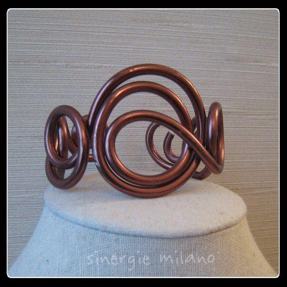 Aluminium BRACELET plaqué cuivre bracelet-ligne « nœuds » - Auburn - aluminium bijoux