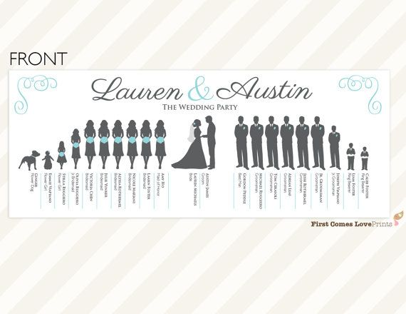 PRINTABLE Silhouette Wedding Program The Lauren Double Sided Extra Large Bridal Party Choose Your Silhouettes Colors 11 X 425 In