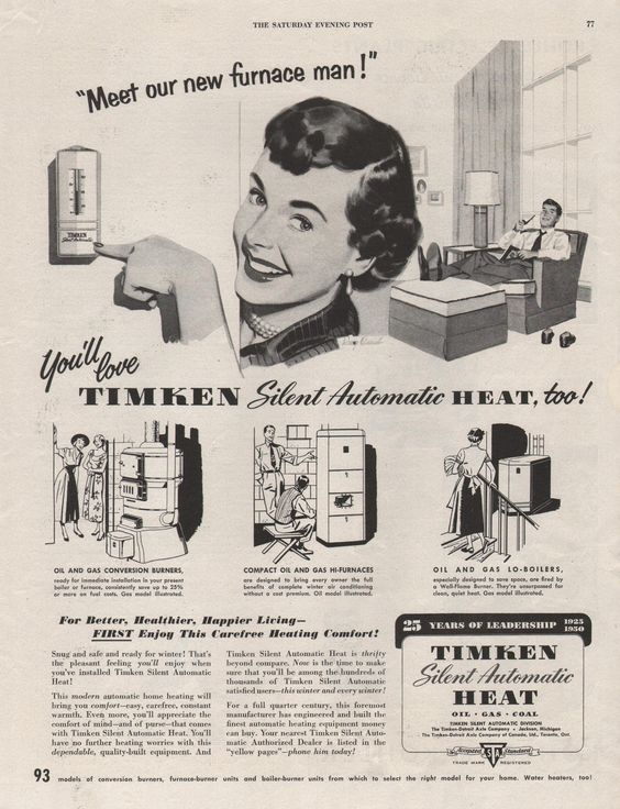 Timken Silent Automatic Heat Thermostat Vintage Advertisements