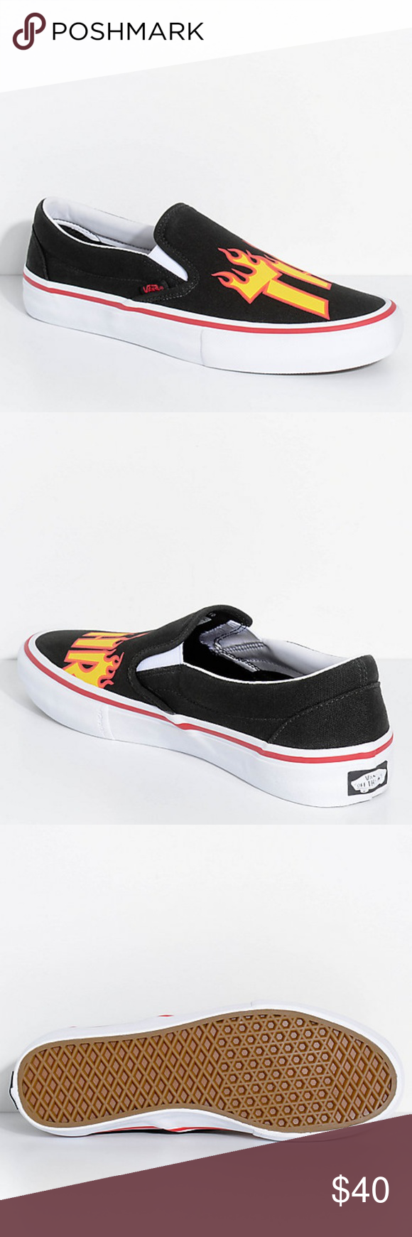 Vans x Thrasher Slip On Pro Black Skate Shoes *New no box