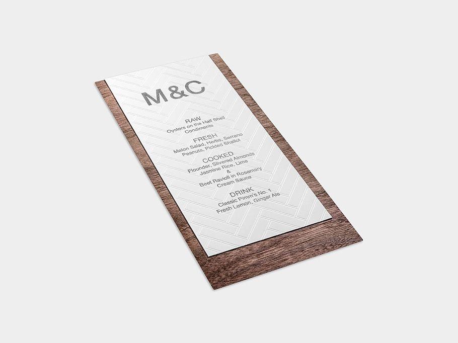 wedding invitations printed on wood%0A MidCentury Modern Wedding Invitation   Marble Vellum Envelope with Leather  Wrap   Wood Grain
