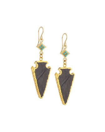 Kyanite+Arrowhead+Earrings+by+Devon+Leigh+at+Neiman+Marcus+Last+Call.