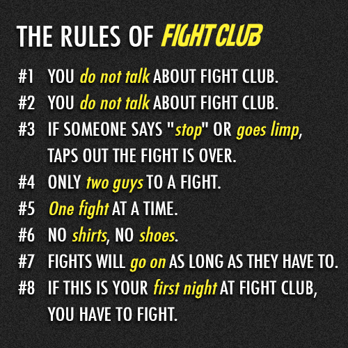 Fight Club (1999) Quote (About rules of fight club rules