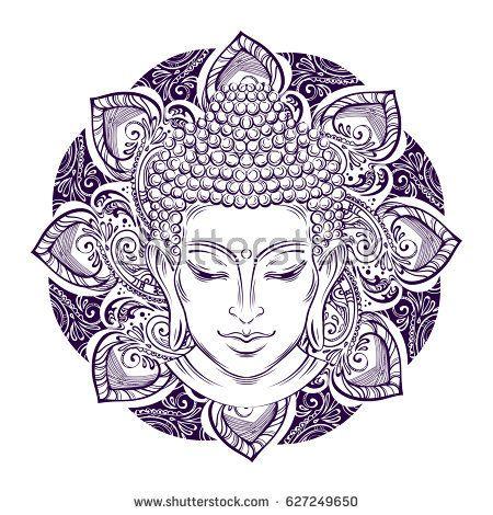 Buddha Head With Paisley Ornament Mehendi The Symbol Of Hinduism