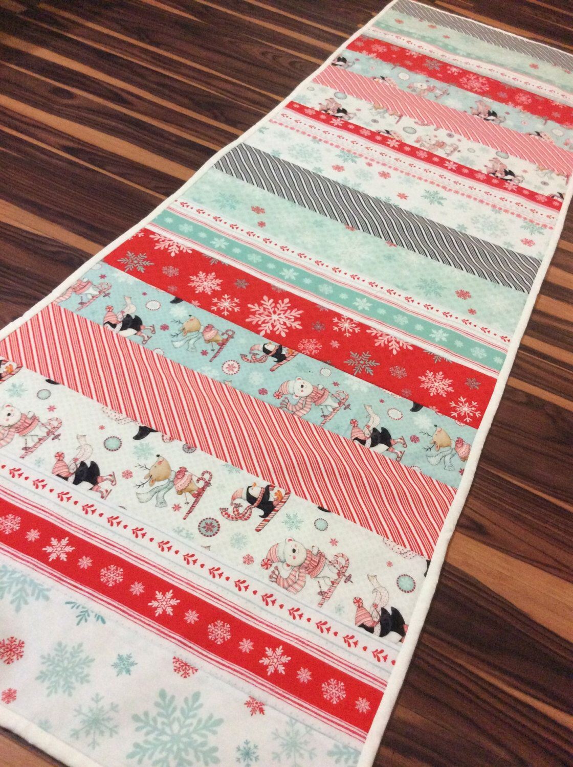 Christmas Novelty Table Runner Table Topper Extra Long In Red Teal And White Handmade Homemade Quilt Quilted Homemade Quilts Table Runners Table Toppers