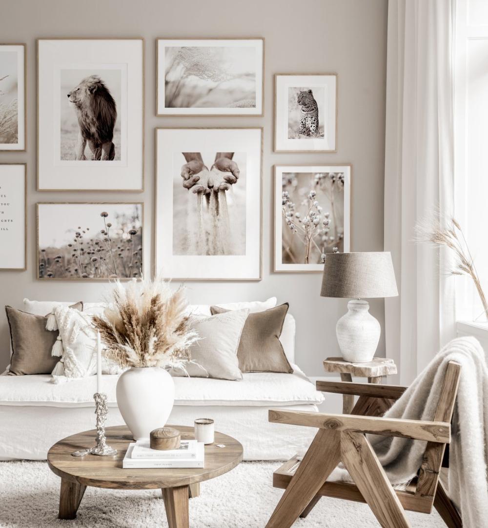 Schöne Bilderwand Achtsamkeit Poster beige weiß Interieur ...