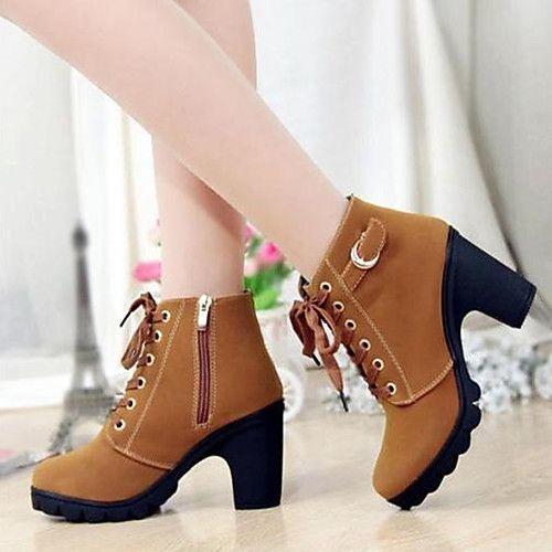 SODIAL(R) Botas de tobillo para mujeres Botas cortas de moda de invierno calzado de tacon alto zapatos de nieve sexy caliente Tamano 7 Negro H3drfKLNN