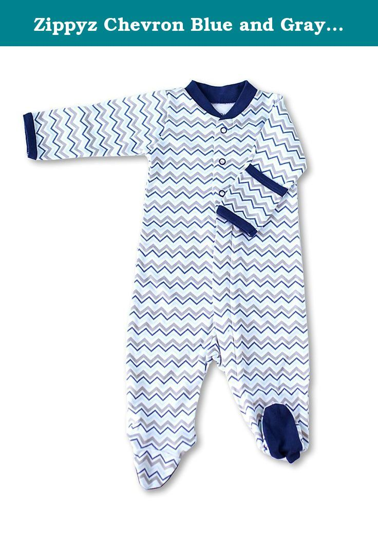 6e4eadd6f Zippyz Chevron Blue and Gray (6-9 months). Zippyz are footed pajamas ...