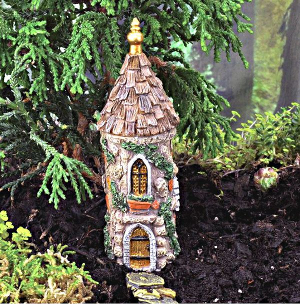 The Miniature Castle Tower Is Designed For Use In Fairy Gardens And Serves As A Fairy House Designed To L Miniature Fairy Gardens My Fairy Garden Fairy Garden