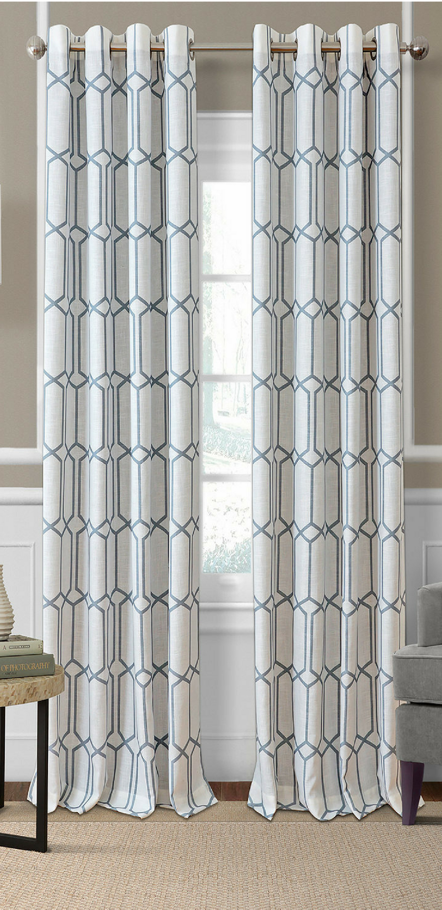 Gray curtains bedroom a refined geometric pattern and an energyefficient blackout design