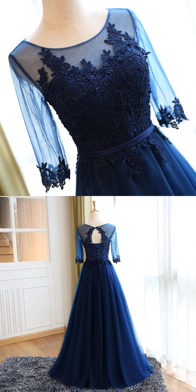 Aline round neck navy blue tulle prom dress with appliques in
