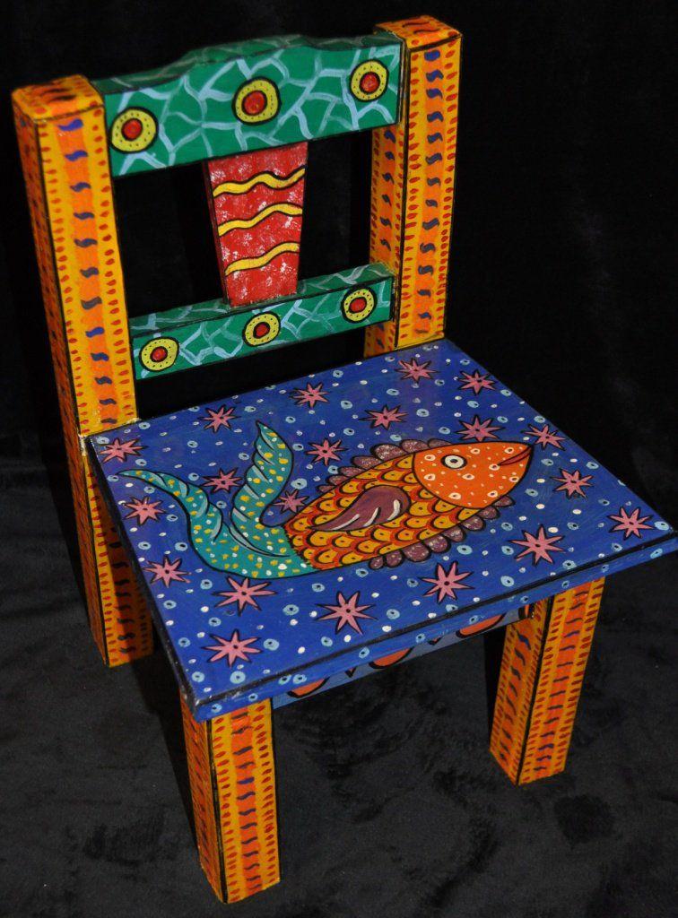 Silla pintada a mano de guatemala colores pinterest - Muebles de madera pintados a mano ...