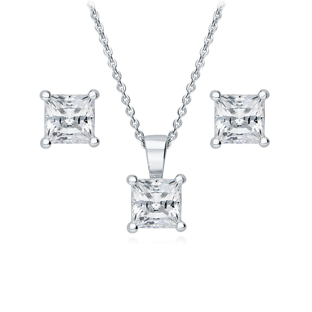 Silver solitaire necklace earrings set made with swarovski zirconia