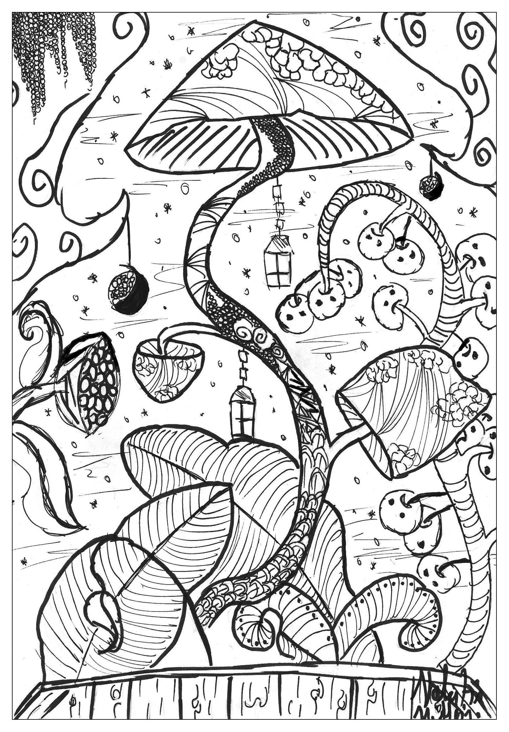 A Coloring Page With Gigantic Mushroom In The Forest From Gallery