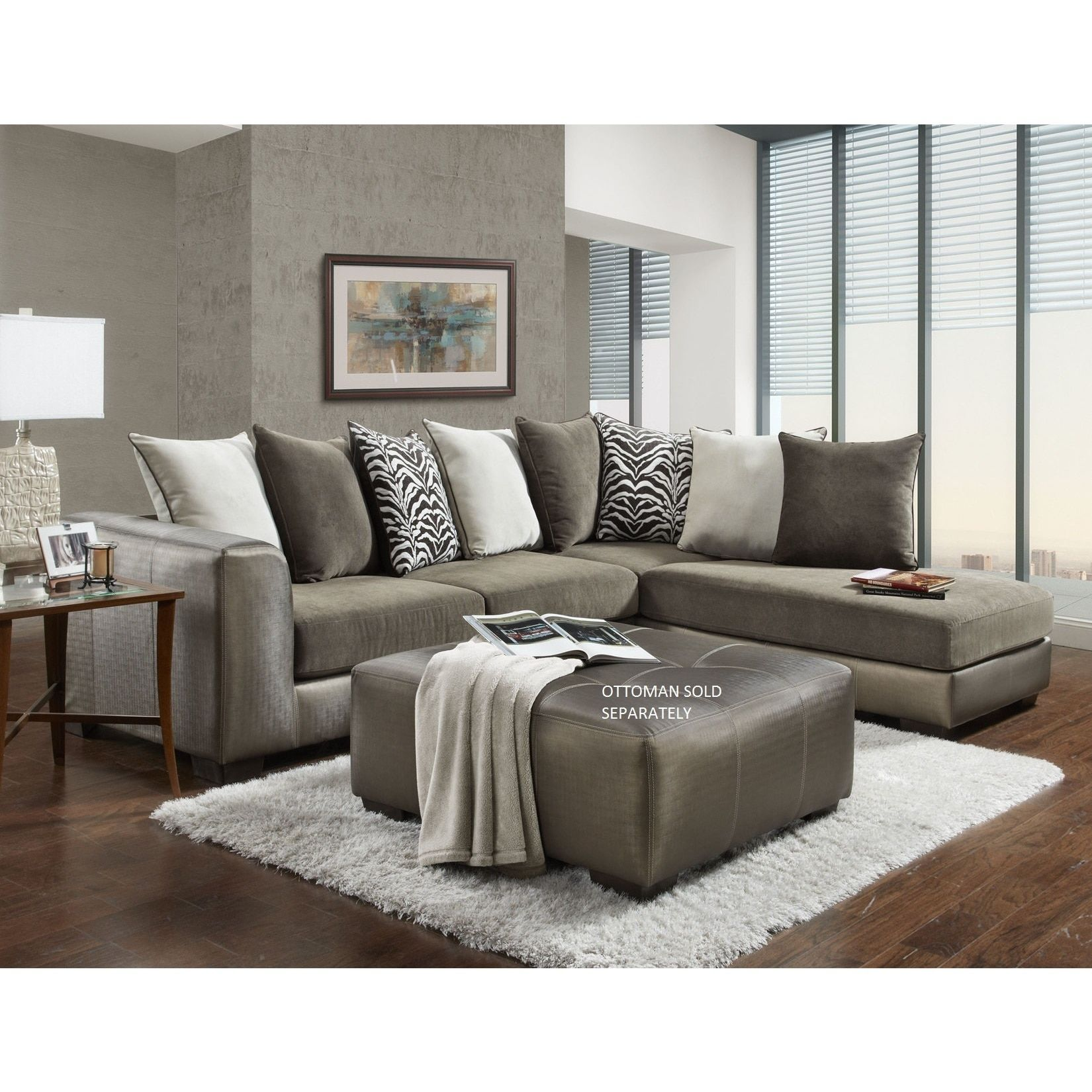 Shimmer magnetite champagne microfiber sectional sofa champagne beige fabric