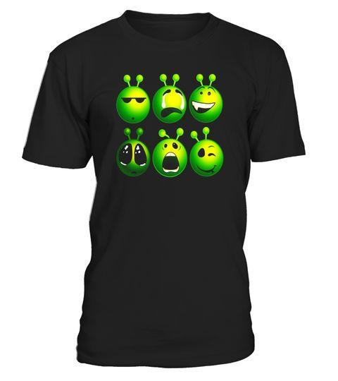 # Alien Faces Emoticons Funny Cool Aliens Shirt Cartoon