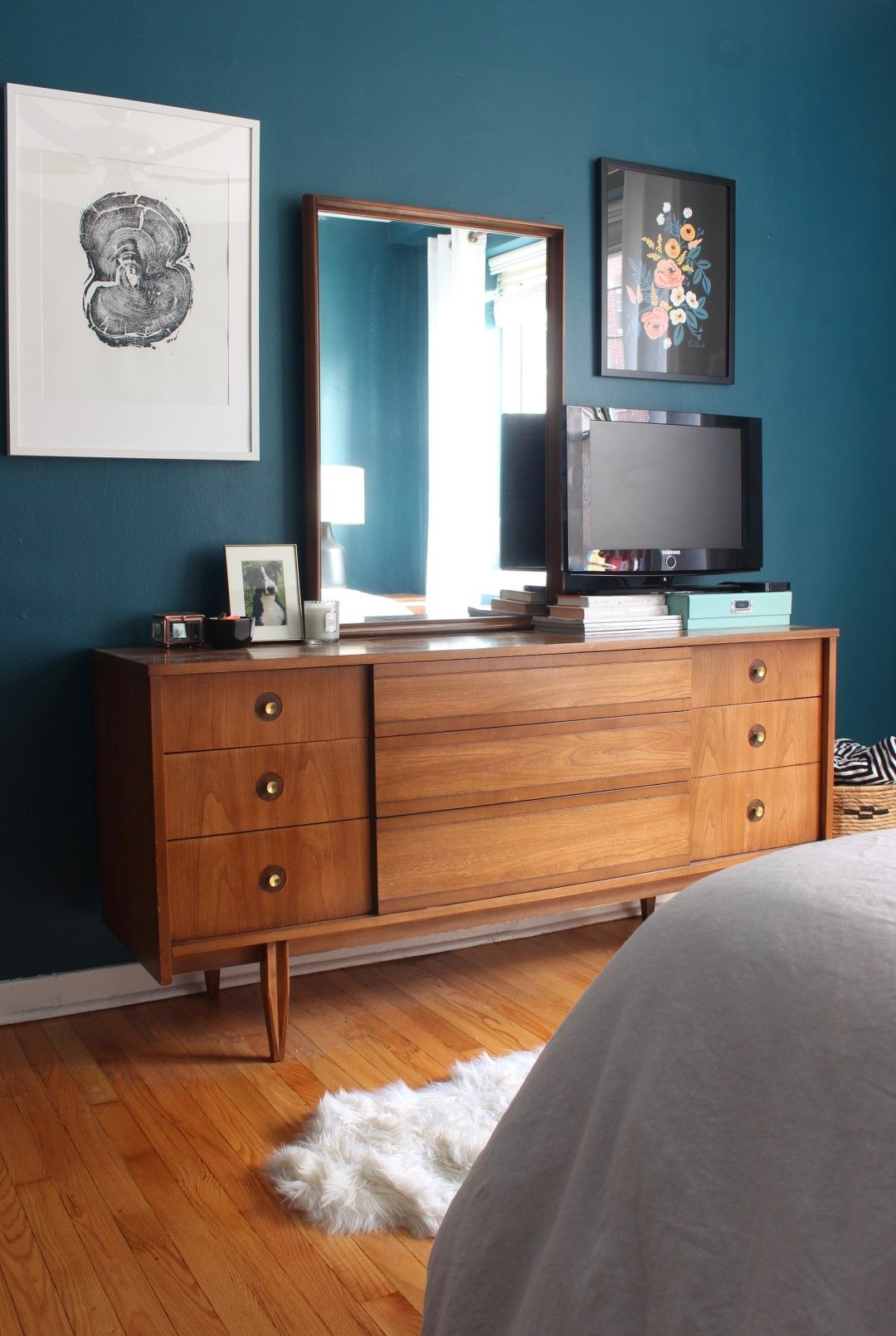 Best Mid Century Moody Bedroom The Reveal Teal Walls 400 x 300