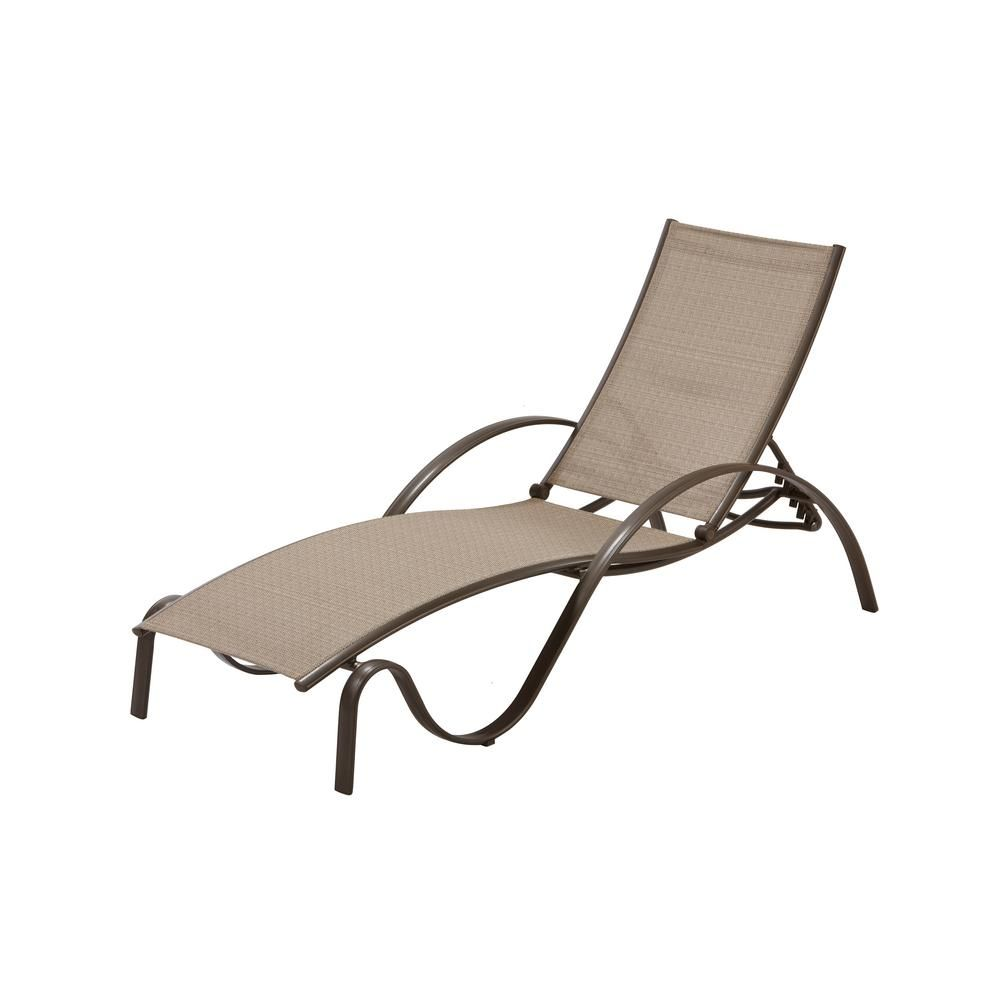 Hampton Bay Commercial Grade Aluminum Brown Outdoor Chaise Lounge In Sunbrella Elevation Stone Sling 2 Pack