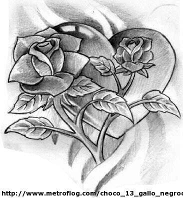 Corazon Y Las Rosas Con Imagenes Dibujos A Lapiz Rosas