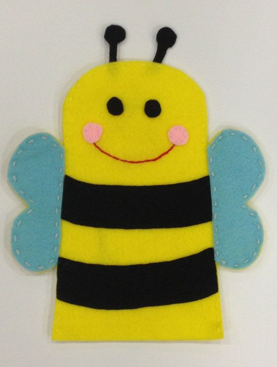 Busy bee hand puppet on etsy craft pinterest for Bee finger puppet template