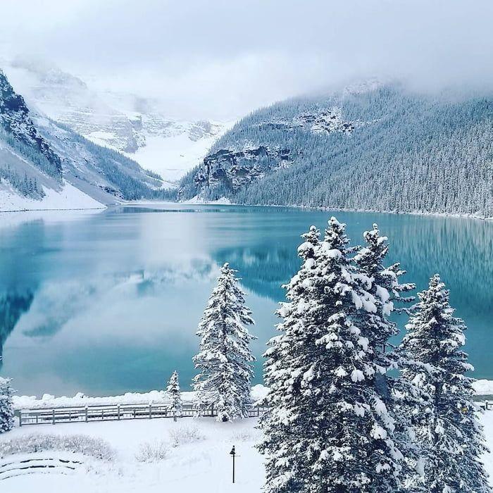 Serene winter scene in lake Louise, Banff National Park