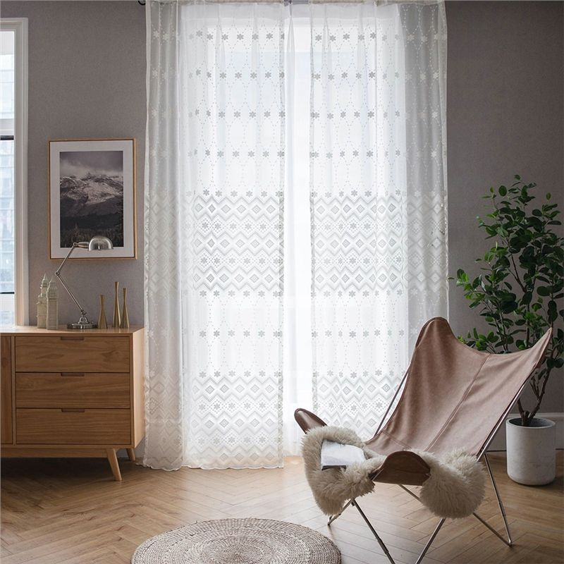 Minimalismus Gardine Geometrie Weiss Jaquard Im Schlafzimmer