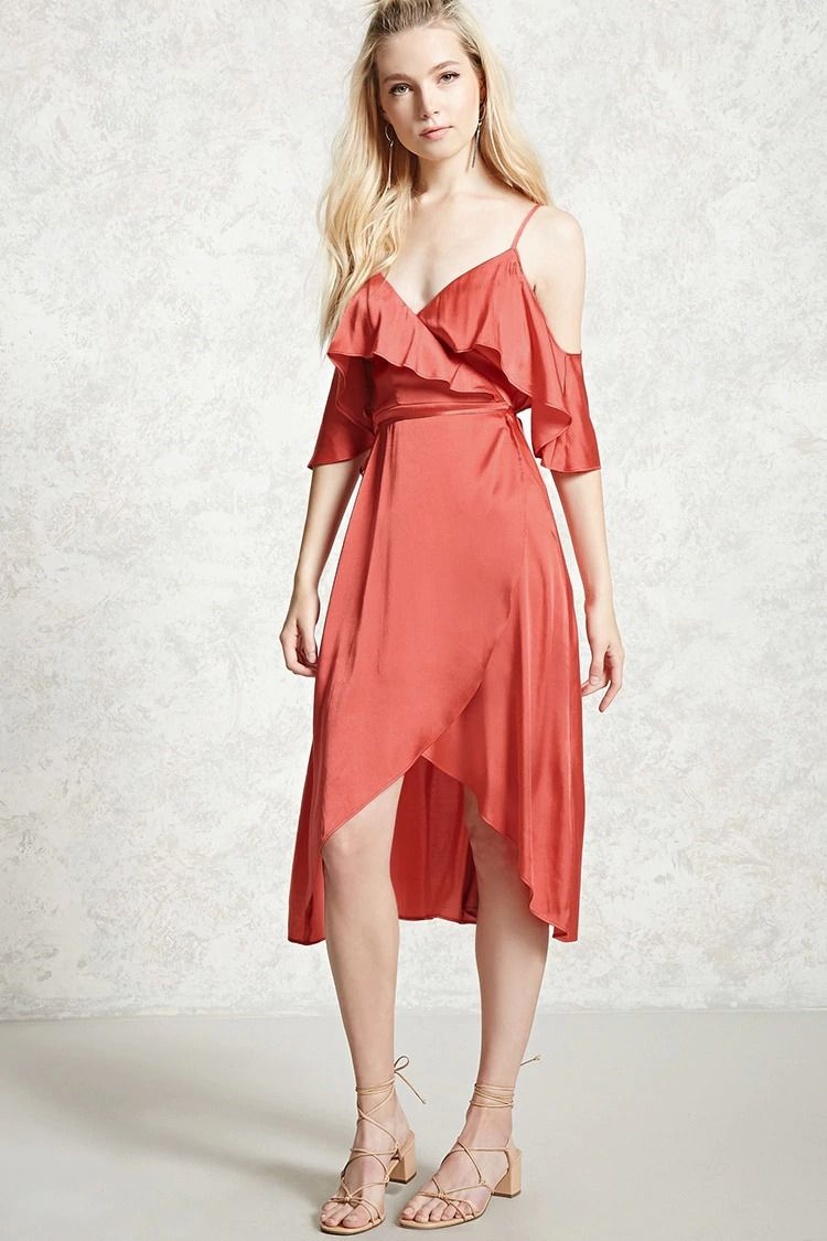 Forever 21 Contemporary - A satin dress featuring a surplice neckline with  a flounce layer,