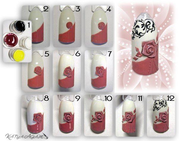Пошаговые рисунки на ногтях фото