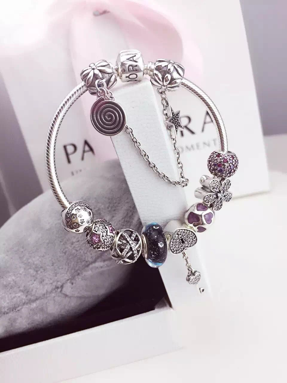50 Off 239 Pandora Charm Bracelet Purple Blue Hot