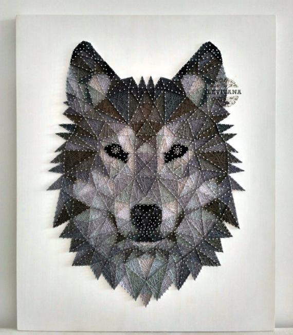 Wand-Dekor Wolf Holz Wand Kunst Holz Wand Kunst Büro Dekor Geschenk für ihre String Art Wolf Kunst