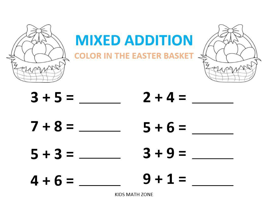Excited To Share This Item From My Etsy Shop Easter Addition D 10 Worksheets Kindergarten Addition Worksheets 1st Grade Math Worksheets Kids Math Worksheets