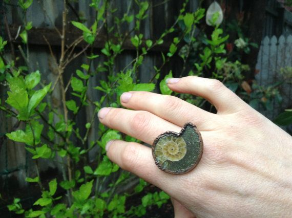Ammonite ring size 8.5 ring electroformed ring by Electroflora