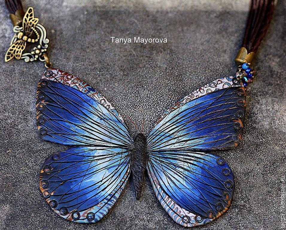 Купить кулон колье из полимерной глины Бабочка - тёмно-синий, бабочка, полимерная глина