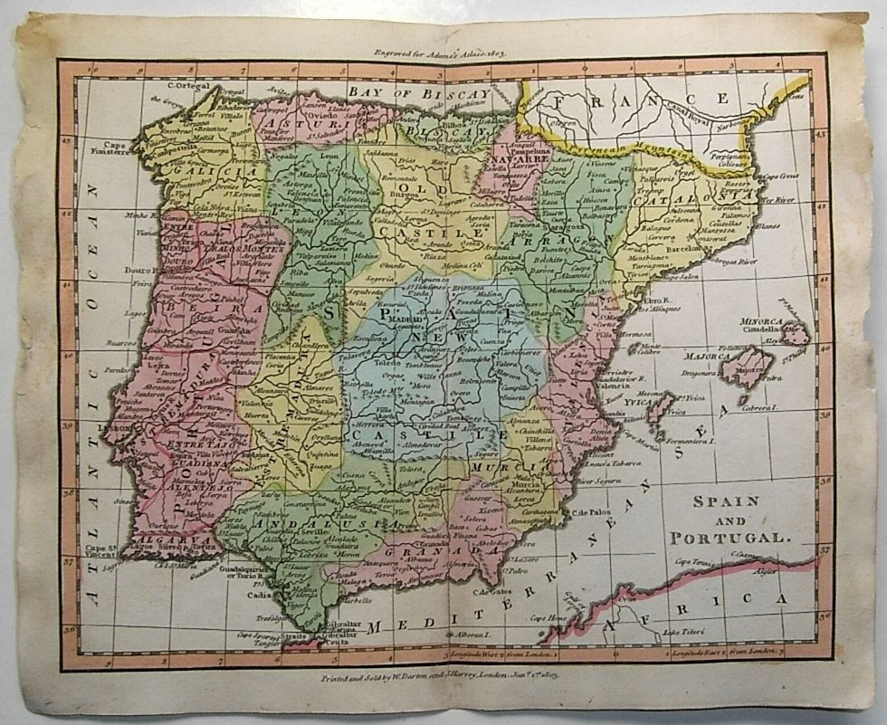 Vintage map of Spain that would look