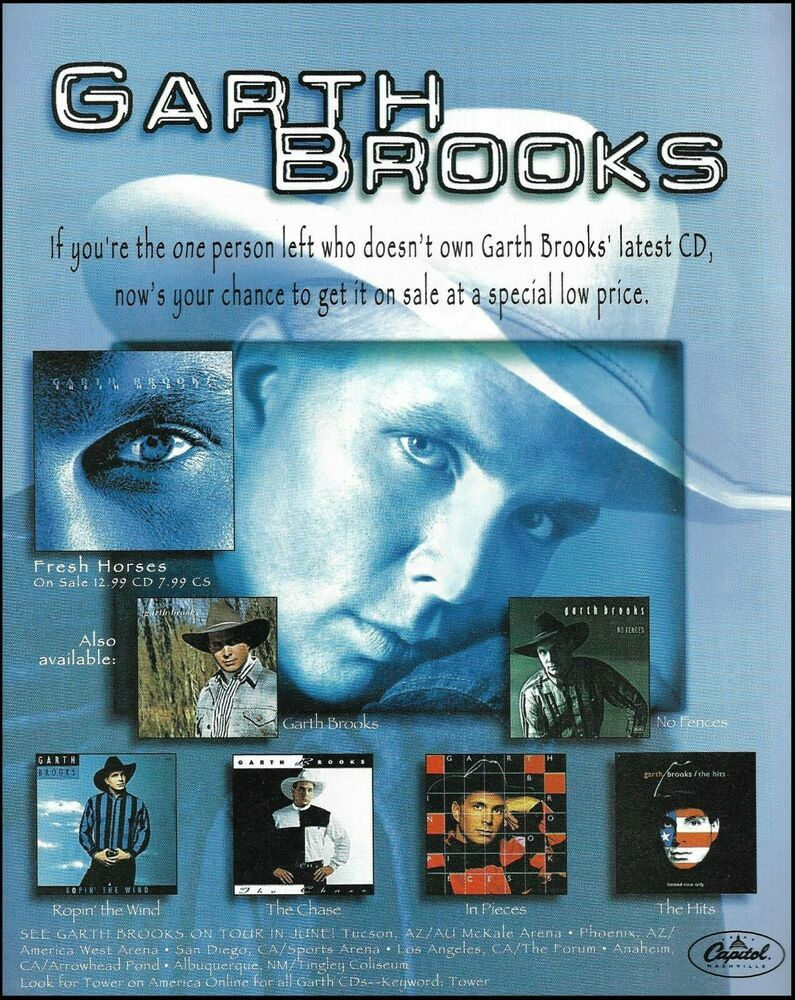 Garth Brooks 1996 Fresh Horses Tour Dates Ad 8 X 11 Advertisement Print In 2020 Garth Brooks Radio City Radio City Music Hall