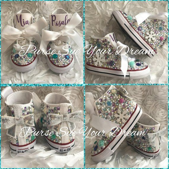 93ab53e21e7f59 Disney Frozen Themed Swarovski Crystal Designed Converse Shoes - Frozen  Birthday - Anna-Elsa - Disne