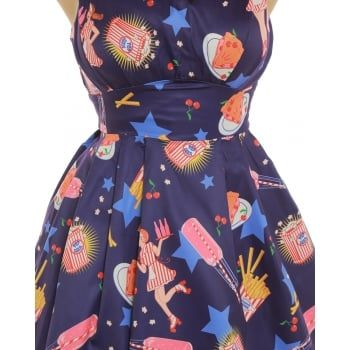 bf438f6b71929 Sorrell' Purple Diner Print Swing Dress | New Lindy Bop Drops ...