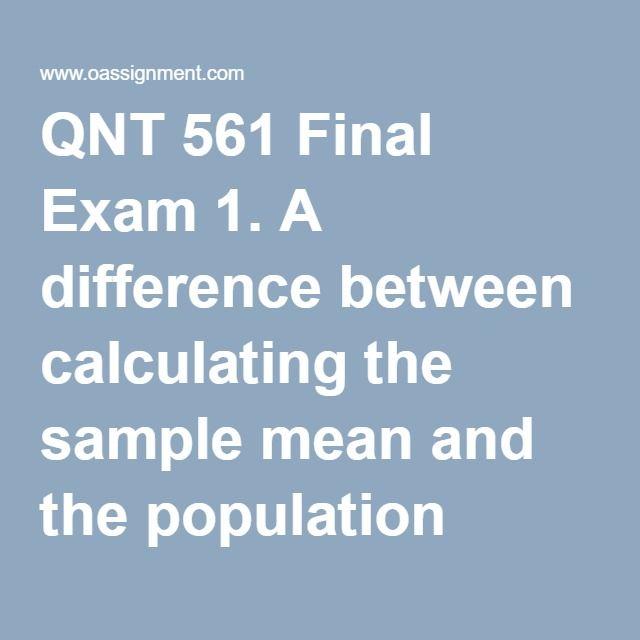 qnt 561 week 6 final exam