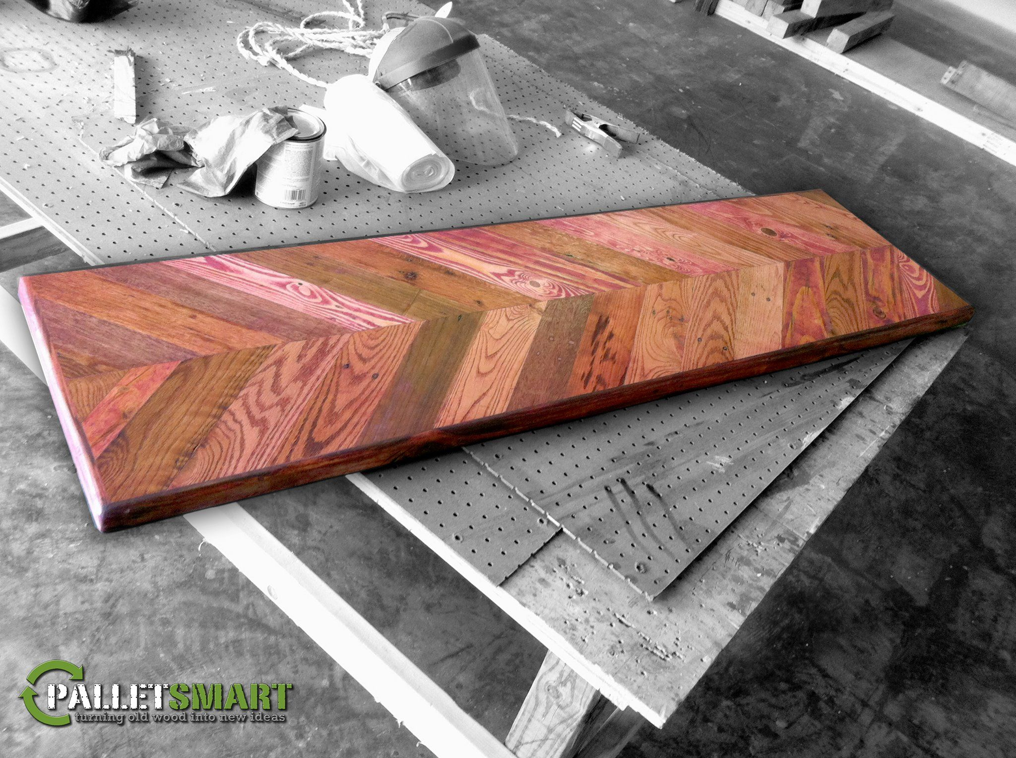 repurposed pallet wood chevron design table top with a cherry stain rh pinterest com