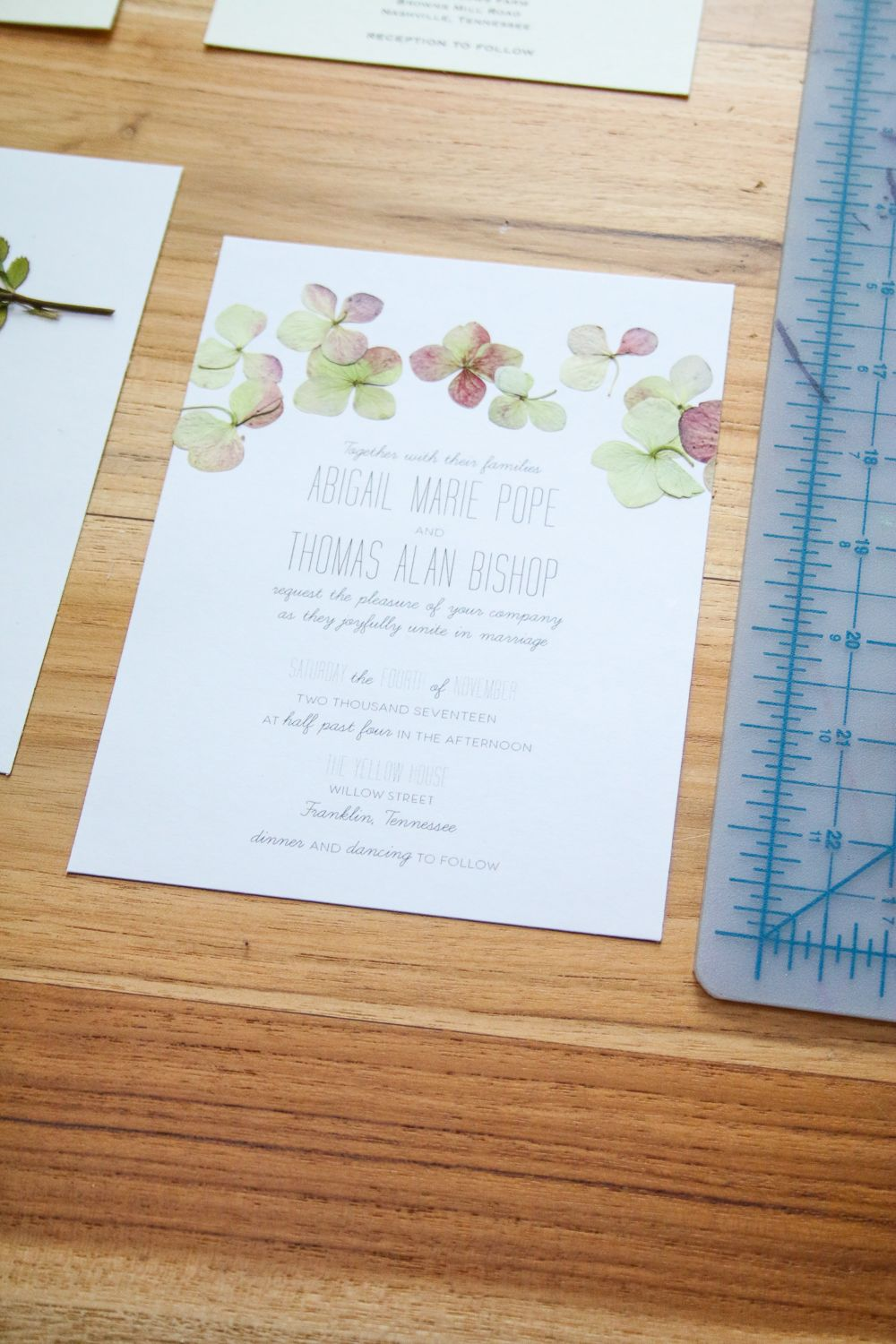 Pressed Flower Wedding Invitation DIY Pressed Flower
